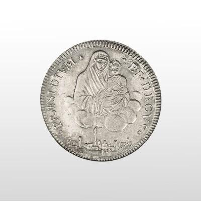 Sulla moneta, una splendida veduta aerea della città di Bologna come appariva nel tardo '700.